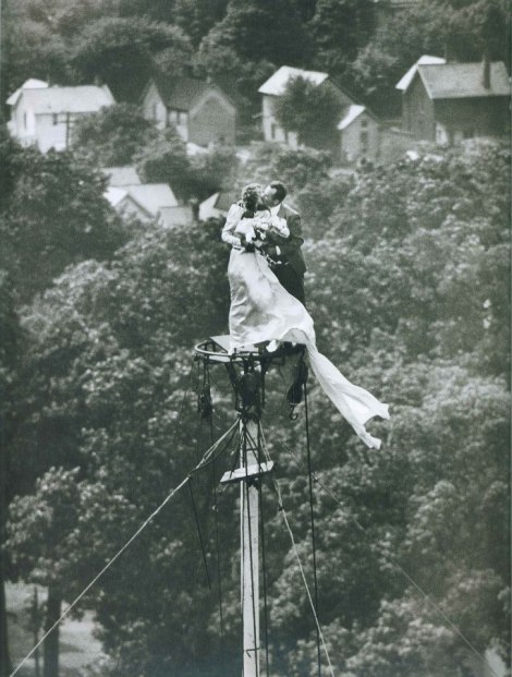 Yolanda and Marshall Jacobs after being married atop a flagpole, 1946.