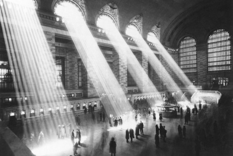 Sunlight streams through the windows in the concourse at Grand Central Terminal in New York City in 1954