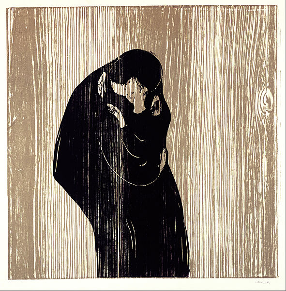Edvard Munch -  The Kiss 1902  (Woodcut)
