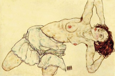 Egon Schiele: Nude Woman with a Skirt