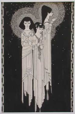 Three Angels woodcut with hand coloring 1925
