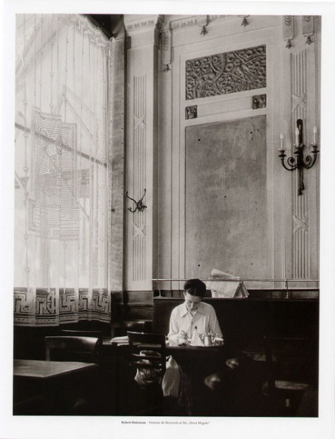Simone de Beauvoir in Deux Magots, by Robert Doisneau