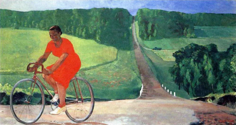 Aleksandr Deyneka - Girl on a bike at collective farm, 1935