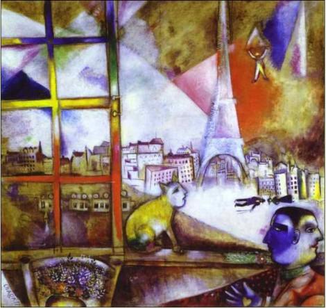 marc chagall Paris vu par la fenêtre 1913