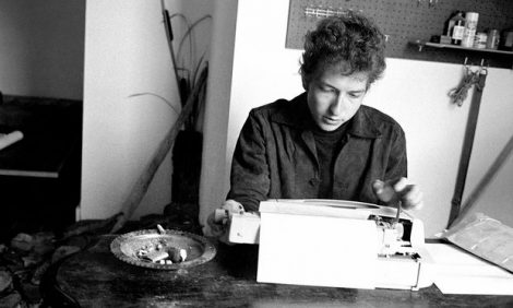 Bob Dylan at a typewriter, 1964. Photograph: BBC/Doug R. Gilbert/BBC